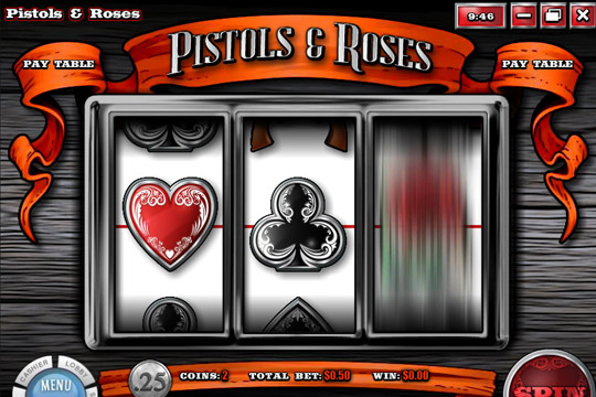 Pistol and Roses 3 Reel Slot